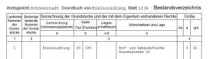 Grundbuchauszug Muster Bestandsverzeichnis